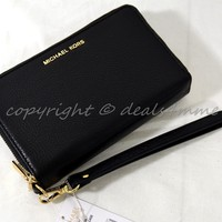 NWT Michael Kors Adele Large Flat Phone Leather Wallet / Wristlet in Black