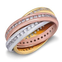 Multi Color 3 Tone Gold Plated Sterling Silver Twisted Trinity Cubic Zirconia