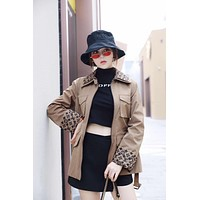 lv women casual autumn new style stand collar clothing spring ladies coat windbreake 3