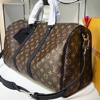 LV Louis Vuitton Hot Sale Men's and Women's Printed Letter Check Large Capacity Duffel Bag Coffee lv print