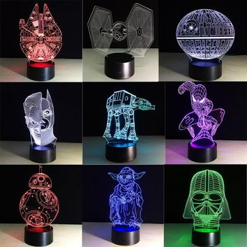 Creative RGB Spiderman Star Wars BB8 droid 3D Bulbing Light toys visual illusion LED lamp Darth Vader Millennium Falcon kids toy