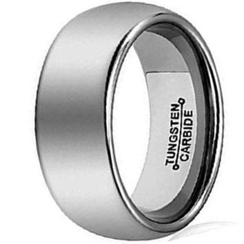 CERTIFIED 8mm Silver Tungsten Carbide Ring Simple Style Wedding Jewelry Band