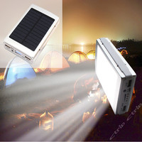 New Portable Solar Power Bank 20000mah Dual USB External Battery Solar Charger powerbank 20pcs LED camp Light for Cell phone