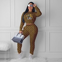 GUCCI Women Casual Letter Pattern Print Long Sleeve Trousers Set Two-Piece