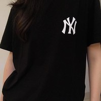 Hot Tunic MLB NY Women Man Fashion Print Sport Shirt Top Tee
