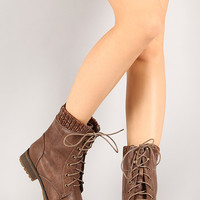 Wynne-06 Sweater Collar Military Lace Up Boot