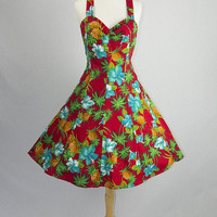 Vintage 1980s Hawaiian Bombshell Halter Circle Sun Dress 1950s Style