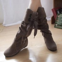 New Women Grey Round Toe Flat Within The Higher Casual Boots
