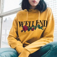 Fall Winter Long Sleeve Print Floral Yellow Pullover Hoodies