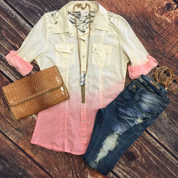 Pleasantly Surprised Ombre Top: Pink