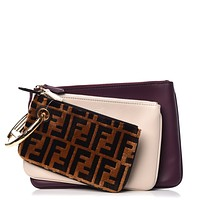 Fendi Triplette FF Zucca Logo Calfskin Three Piece Clutch Bag Pouch