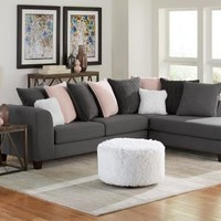Gray and Blush Sectional Sofa