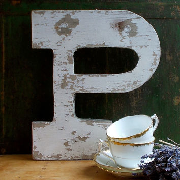 "Vintage Painted Wooden Sign Letter ""P"", Advertising, Industrial Salvage"