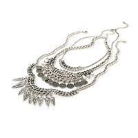 FOREVER 21 Coin Fringe Chain Necklace Burn.S/Clear One