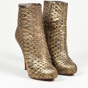 DCCK Gold Christian Louboutin Python Leather  Feticha Booty 120  Ankle Boots