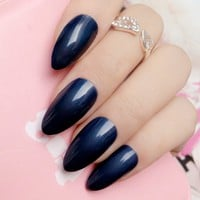 Fashion Navy Blue Fake Nails Candy Color Short Stiletto Nails Tips Acrylic Full Cover False Nails DIY Manicure Tool