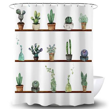 ROMAHOME Green Plant Shower Curtain Small Potted Tropical Cactus Succulents Green Leaf Floral Flower Durable Waterproof Fabric Bathroom Curtains White Panel with 12 Hooks 72x72 Inches 72''W By 72''L