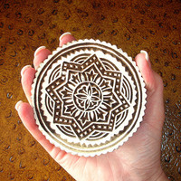 Hand Carved Wood Stamp: Large Indian Circle, Round Wooden India Ceramic Tile Pottery Stamp