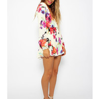 Cream Floral Print Long Sleeve Romper