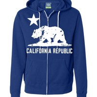California Flag White Silhouette Zip-up Hoodie Asst Colors by DSC