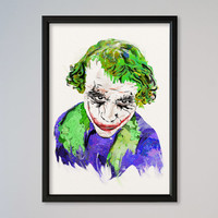 Joker FRAMED Watercolor Print Wall Art Fine Art Giclee Print Poster DC Comics Heath Ledger Joker The Dark Knight