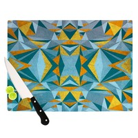"Nika Martinez ""Abstraction Blue & Gold"" Cutting Board"