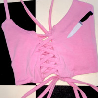 SWEET LORD O'MIGHTY! DAGGER LACE UP IN PINK