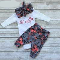 Christmas Suit for Girls Baby Clothes Set Baby Girls Clothing of Long sleeve Romper + Pants + Headband Suit