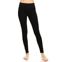 Fold Over Waistband Full Length Leggings - Black