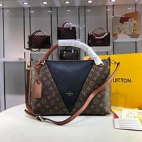 DCCK L073 Louis Vuitton LV Monogram Canvas Leather V Tote MM Handbag 36-27-16CM Black