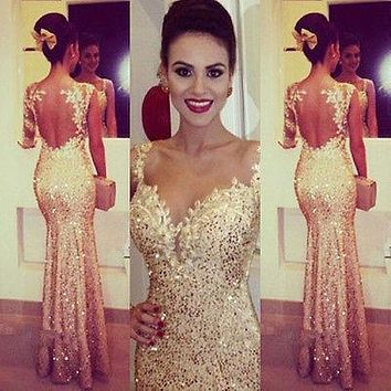 Long Beaded Formal Prom Bridal Party Dresses Wedding Gown gold