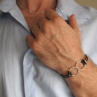 Infinity Leather Mens Bracelet. Adjustable Brown Cords Wristband. Sterling Silve