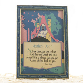 """Art Deco Poem by Bert Bailey """"Mother Dear"""" Poem with 1920s Illustration Carved Wood Frame Gibson Product"""