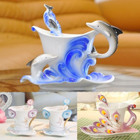 Ceramic Coffee Cup Peacock Dolphin Morning glory Mug Birthday Gift For Child Kids Couples Girls = 1930030468