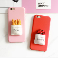 NEW! Fashion DIY 3D Tomato And Pain Dull Polish Hard PC Back Cover Phone Case For iPhone 7 For iPhone 5 5S SE 6 6S 7 Plus YC2017