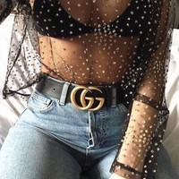 GUCCI CUTE Woman Men Fashion Smooth Buckle Belt Leather Belt WITH  Gift Box