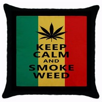"""Hot Keep Calm and Smoke Weed Throw Pillow Case Funny Keep Calm Quote Cushion Cover Bob Marley Pillow Sham Square Decor Gift 18"""""""