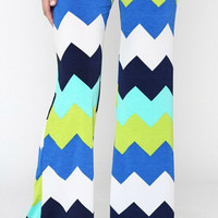 Multi Color Palazzo Pants - Blue and Green