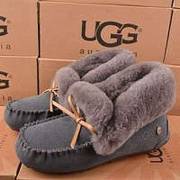 UGG Women Fashion Wool Snow Boots Calfskin Shoes