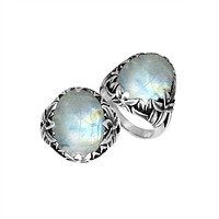 """AR-8030-RM-7"""" Sterling Silver Ring With Rainbow Moonstone"""