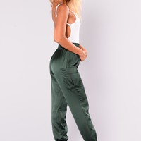 Kristy Satin Joggers - Hunter Green