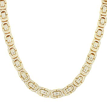Gold Finish Men's Iced Out Byzantine Link Custom Real Silver Chain