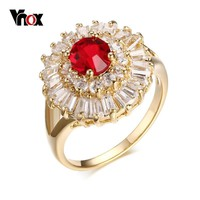 Vnox Red Stone Women's Wedding Rings Romantic Engagement Rings for Women Gold-color