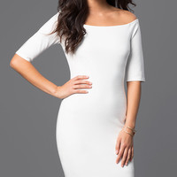 Fitted Off the Shoulder Knee Length Dress