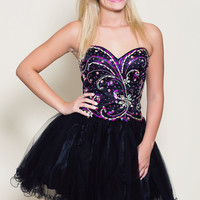 Magenta and Black Swirl Party Dress