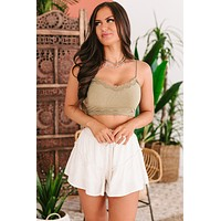 Meaningful Moments Lace Edge Crop Cami Top (Olive)