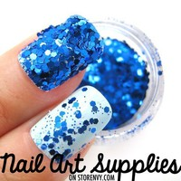 Disco Blues - Bright Blue Raw Nail Glitter Mix 3.5 Grams from nailartsupplies