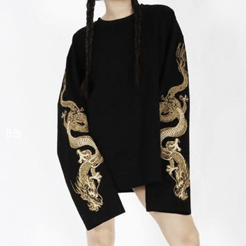 Women's Cool Harajuku Loose Style Black Hoodie Golden Dragon Embroidery Sweatshirt Long Sleeve Japanese Long Shirt