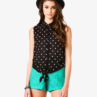 Polka Dot Tie-Front Top | FOREVER 21 - 2030186102