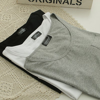 Solid Color Loose Cotton T-shirt with Pocket